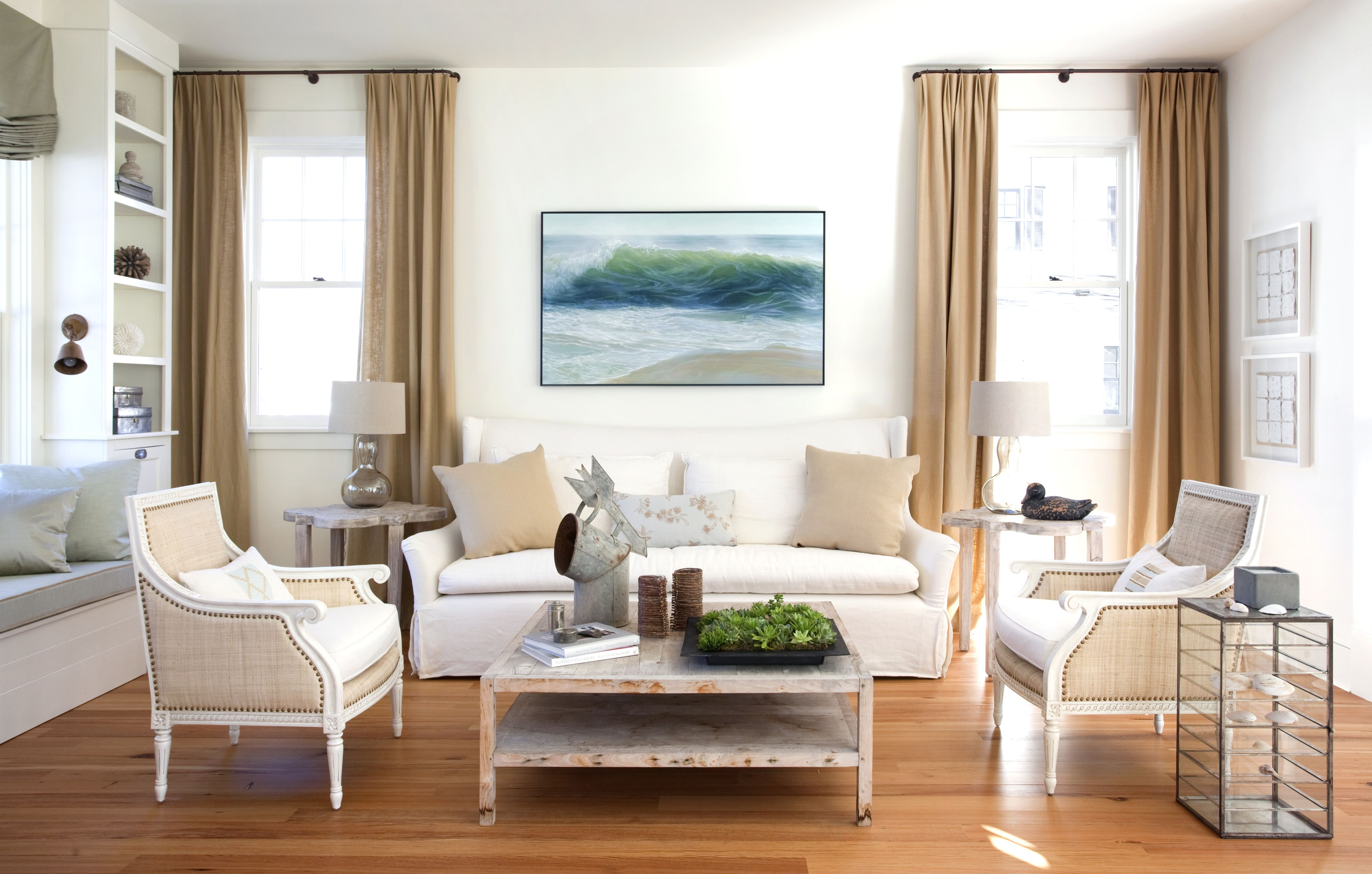 Modern beach living room - Coastal Living Room With Ocean Art